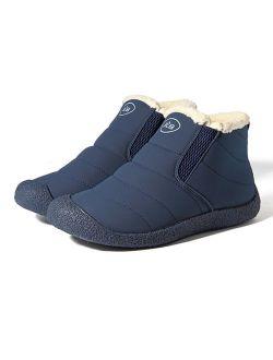 gracosy Unisex Winter Warm Booties, Anti-Slip Ankle Booties Waterproof Slip On Warm Fur Lined Sneaker