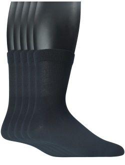 Yomandamor Men's 5 Pairs Bamboo Quarter Diabetic/Dress Socks With Seamless Toe and Non-binding Top