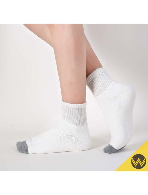 WANDER Men's Athletic Ankle Socks 8 Pairs Thick Cushion Running Socks for Men&Women Cotton Socks 4-6/7-9/9-12/12-15