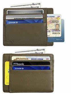 RFID Blocking Credit Card Holder Genuine Leather - Slim & Thin 8 Card Slots RFID Credit Card Holder for Men and Women - Minimalist Front Pocket Wallet Design Protect All