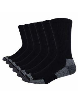 Men's 6 Pack Athletic Performance Cushion Crew Socks For Training
