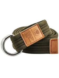 Samtree Canvas D Ring Belts,Adjustable Solid Color Military Style Web Belt Buckle
