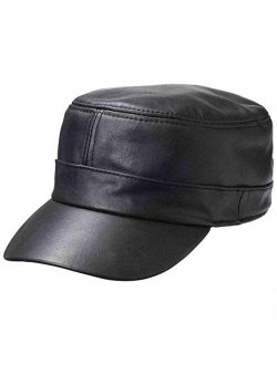 Casual Outfitters Solid Genuine Lambskin Leather Cap