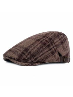 ZLSLZ Mens Adjustable Plaid Ivy Newsboy Cabbie Gatsby Golf Beret Flat Hat Cap