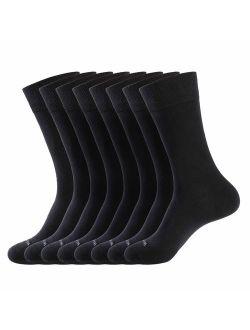 Men's Dress Socks Cotton Thin Classic Lightweight Socks 8 Pairs Solid Soft Breathable Socks