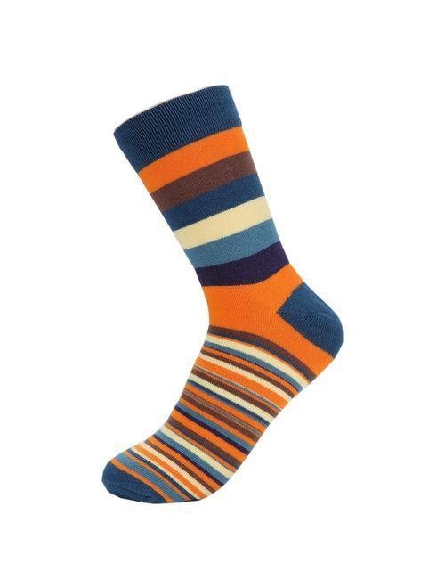 Hoyols Men's Dress Casual Colorful Stripe Cotton Socks Patterned Business Long Socks (5 Packs)