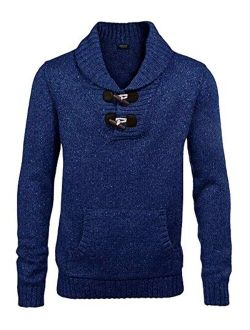 Men's Knitted Slim Fit Shawl Collar Sweater Long Sleeve Pullover