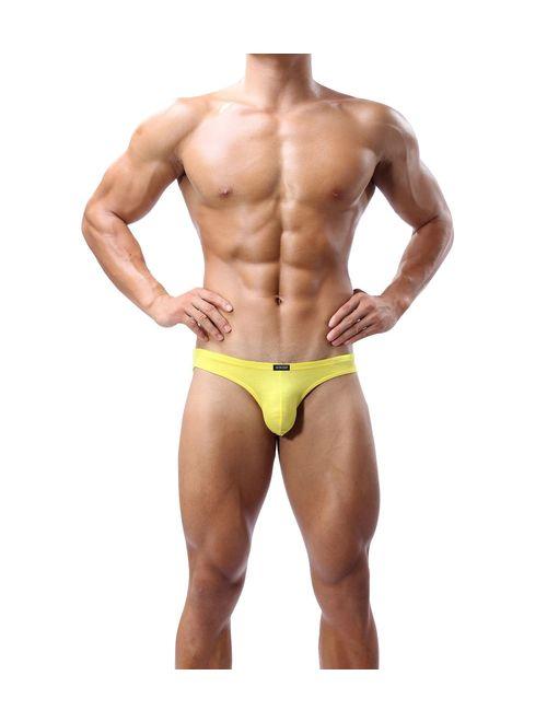 iKingsky Men's Modal Bulge Briefs Sexy Low Rise Pouch Bikini Underwear