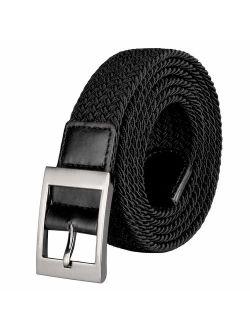 Drizzte Plus Size 43-75'' Long Stretch Elastic Big Mens Braided Waist Belt Black