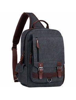 """WOWBOX Sling Bag for Men Women Sling Backpack Laptop Shoulder Bag Cross Body Messenger Bag Fit 13.3"""" 15.6"""" Laptop Tablet"""