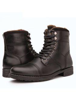 Mens Fashion Lace Up Cap Toe Winter Ankle Combat Boots