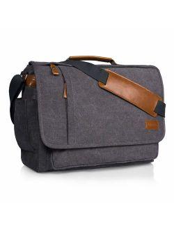 Estarer Laptop Messenger Bag 14-17.3 Inch Water-Resistance Canvas Shoulder Bag for Work College ...