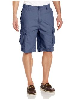 Men's Cotton Solid Relaxed Fit Mini Ripstop Cargo Short