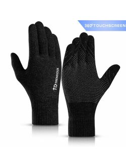 TRENDOUX 360 Whole Palm Touch Screen Gloves for Men Women, Anti-Slip Silicone Gel, Elastic Cuff, Thermal Soft Lining