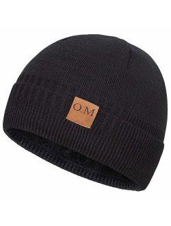 Bodvera Men's Winter Beanie Watch Hat Daily Knit Ridge Cuff Beanie Thick Fleece Lined Plain Toboggan Ski Skull Beanie Hat Cap