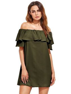 Milumia Women's Off Shoulder Ruffles Shift Loose Mini Dress