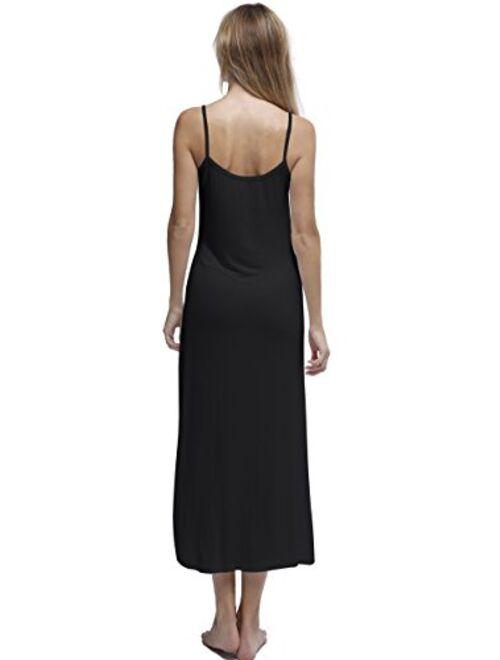 Papicutew Women's Long Full Cami Slip Dress Sleeveless Nightgowns