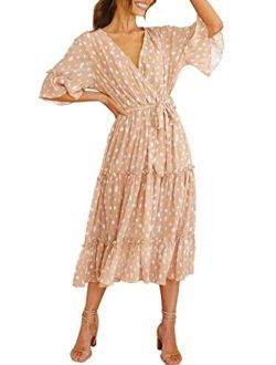 Miessial Chiffon V Neck Floral Boho Beach Front Slit Maxi Dress With Belt