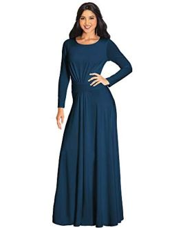 Sleeve Flowy Empire Waist Fall Winter Party Gown