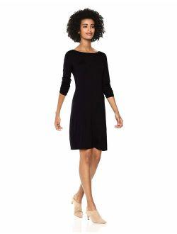 - Daily Ritual Women's Jersey 3/4-sleeve Bateau-neck T-shirt Dress