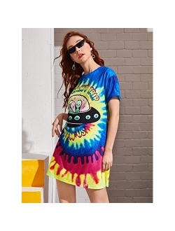Loose Casual Short Sleeve Tie Dye Ombre Swing T-shirt Tunic Dress