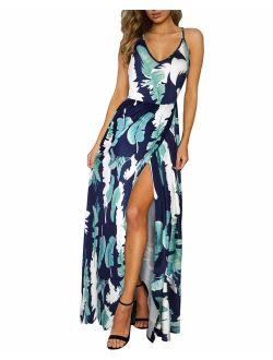 Women's Summer Floral Tie Back Adjustable Spaghetti Strap Maxi Dress Split