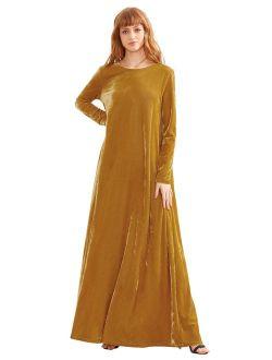 MAKEMECHIC Women's Elegant Long Sleeve Velvet Loose Maxi Dress