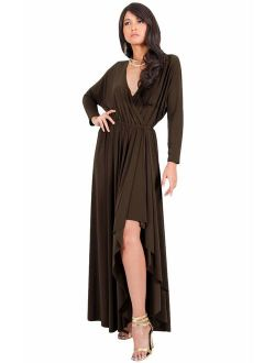 Womens Sleeve Wrap Slit Formal Fall Winter Cocktail Gown