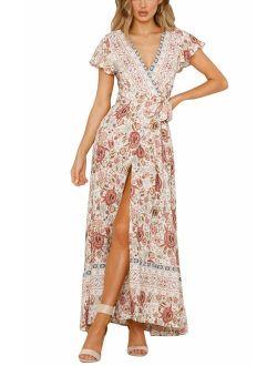 Yidarton Women's Summer Bohemian Wrap V Neck Floral Printed Short Sleeve Beach Casual Long Maxi Dresses
