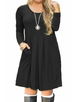 Tralilbee Women's Plus Size Long Sleeve Swing Casual Dress with Pockets