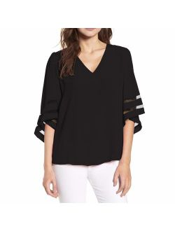 Shy Velvet Women's 3/4 Short Bell Sleeve V Neck Lace Patchwork Chiffon Blouse Casual Loose Shirt Tops