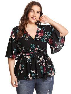 Women's Plus Size Floral Print Short/long Sleeve Belt Tie Peplum Wrap Blouse Top Shirts