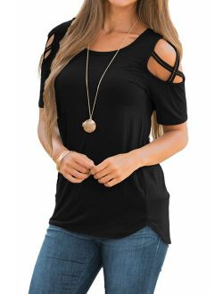 LIOFOER Womens Blouse Loose Strappy Short Sleeve Cold Shoulder Tops