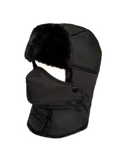 LETHMIK Winter Trapper Ushanka Hat Unisex Faux Fur Waterproof Hunting Hat with Breathable Mask
