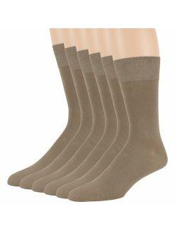 Men Bamboo Dress Sock - 6 Pack - XL/L/M - Brown Blue Brown Burgundy Beige Black