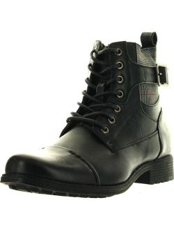 Arider Men's Bull-3 High-Top Lace Up Side Zipper Ankle Booties Casual Shoes