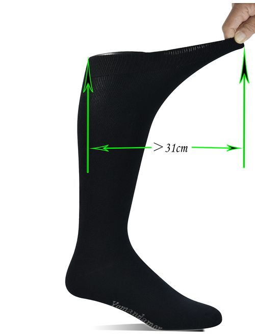 Yomandamor Men's Bamboo Extra Wide Top Over The Calf Dress Socks Boot Socks, 4 Pairs L Size, Suits For All Season