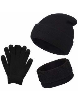 Winter Warm Beanie Hat + Scarf + Touch Screen Gloves, Unisex 3 Pieces Cap Set For Men Women