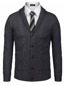 Men's Shawl Collar Cardigan Sweater Slim Fit Merish Aran Button Down Cable Knitted Sweater With Pockets