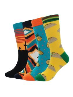 Men's Cool Colorful Casual Socks - Novelty Funny Casual Combed Cotton Crew Dress Socks Christmas Gift Pack