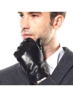 Men's Winter Warm Fashion Dress Leather Gloves Leather Button