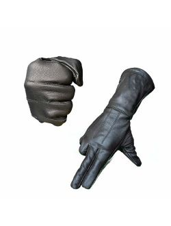 Hugger Motorcycle Black Gauntlet Gloves Touchscreen Unlined Cold/Wind Resistant