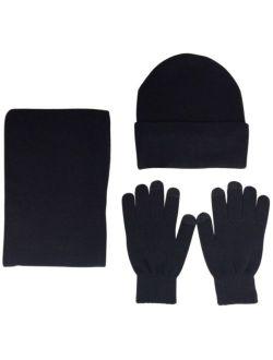 JOYEBUY Men 3 PCS Knitted Set Winter Warm Knit Hat + Scarf + Touch Screen Gloves