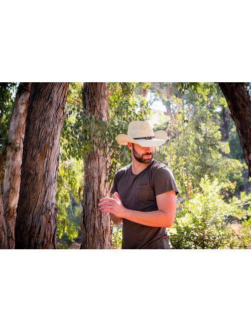 Old Stone Straw Cowboy Cowgirl Hat for Men Women Wide Brim Sun Hat Western Style