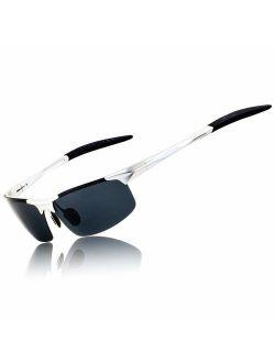 Ronsou Mens Sports Polarized Sunglasses UV Protection Ultra Light Al Mg Sunglasses for Men Driving Fishing Golf