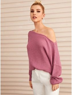 Solid Boat Neck Drop Shoulder Sweater