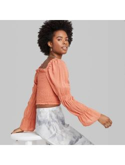 Ng Sleeve Square Neck Smocked Top - Wild Fable Orange