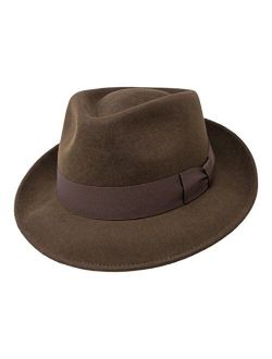 Premium Doyle - Teardrop Fedora Hat - 100% Wool Felt - Crushable for Travel - Water Resistant - Unisex