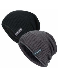 2 Pack Slouchy Beanie Knit Cap Winter Soft Thick Warm Hats for Men and Women