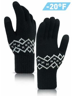 TRENDOUX -20F(-29) Thickened Knit Winter Gloves for Men and Women, Touch Screen Fingertips, Elastic Cuff, Thermal Soft Lining, Very Warm for Cold Weather